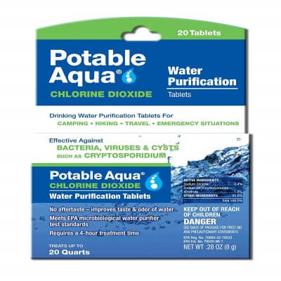 Potable Aqua Chlorine Dioxide Water Purification Tablets - Portable Drinking Water Treatment