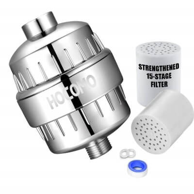 15-Stage Shower Filter with Replaceable Cartridge - Remove Chlorine
