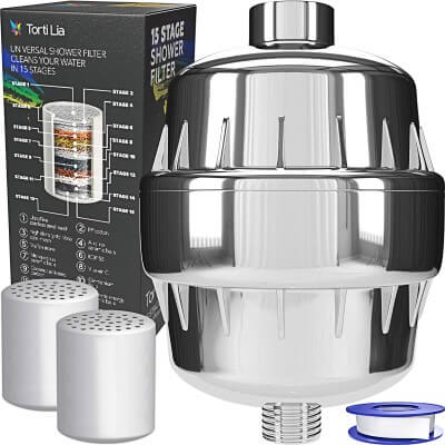 15 Stage Shower Filter with Vitamin C For Hard Water - 2 Cartridges Included Shower Filters Removes Chlorine Fluorine and Harmful Substances