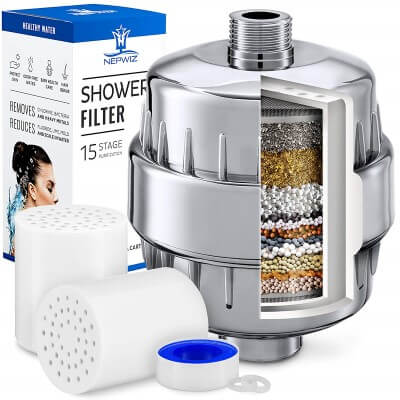 15 Stage Shower Filter with Vitamin C for Hard Water - Best shower filters for hard water, chlorine & Vitamin C