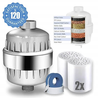 Eco Shower Filter with 2 Cartridges + Shower Curtain