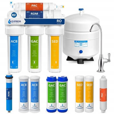 Express Water Reverse Osmosis Water Filtration System – 5 Stage RO Water Purifier with Faucet and Tank – Under Sink Water Filter