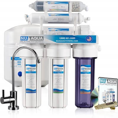 NU Aqua Platinum Series 100GPD Under Sink Reverse Osmosis Drinking Water Filtration System