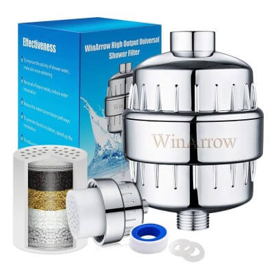 WinArrow High Output Universal Shower Filter Chlorine No Pollution Replaceable