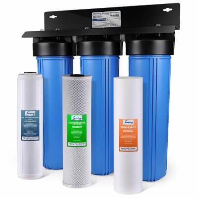 iSpring WGB32B-PB 3-Stage Whole House Water Filtration System w 20-Inch Big Blue Sediment, Carbon Block, and Iron & Lead Reducing Filter