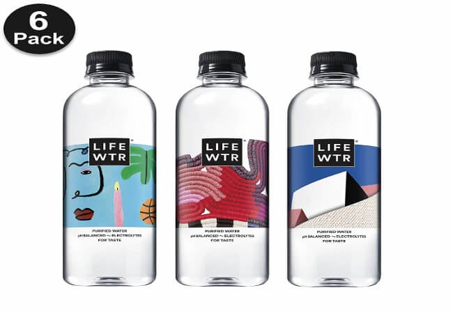 LIFEWTR, Premium Purified Water, pH Balanced with Electrolytes For Taste, 500 mL (6 Pack) (Packaging May Vary