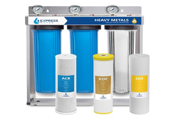 Express Water Heavy Metal Whole House Water Filter – 3 Stage Whole House Water Filtration System – Sediment